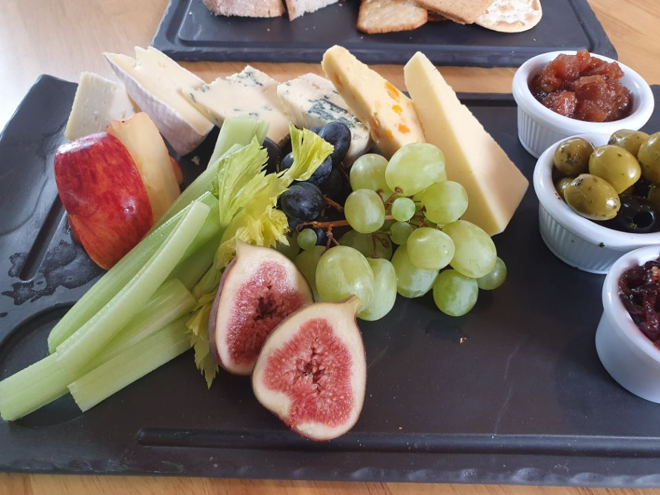 Cheese Platter with Fruit and Celery