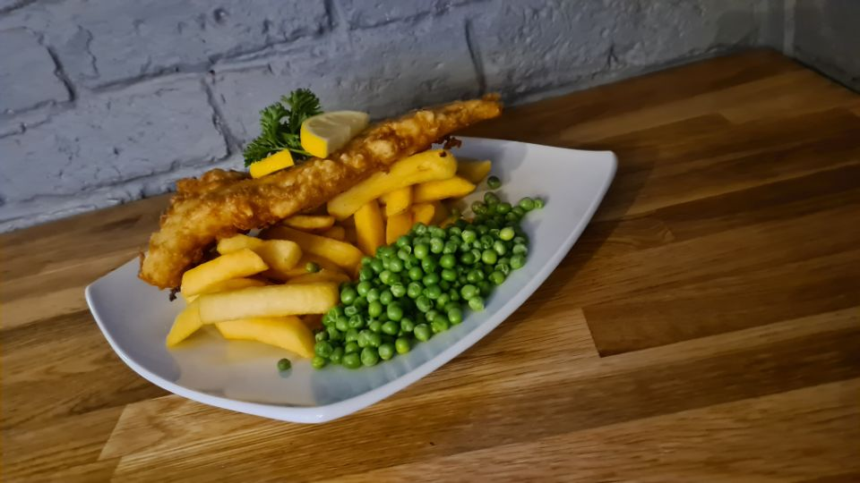 Beer Battered Fish, Chips and Peas