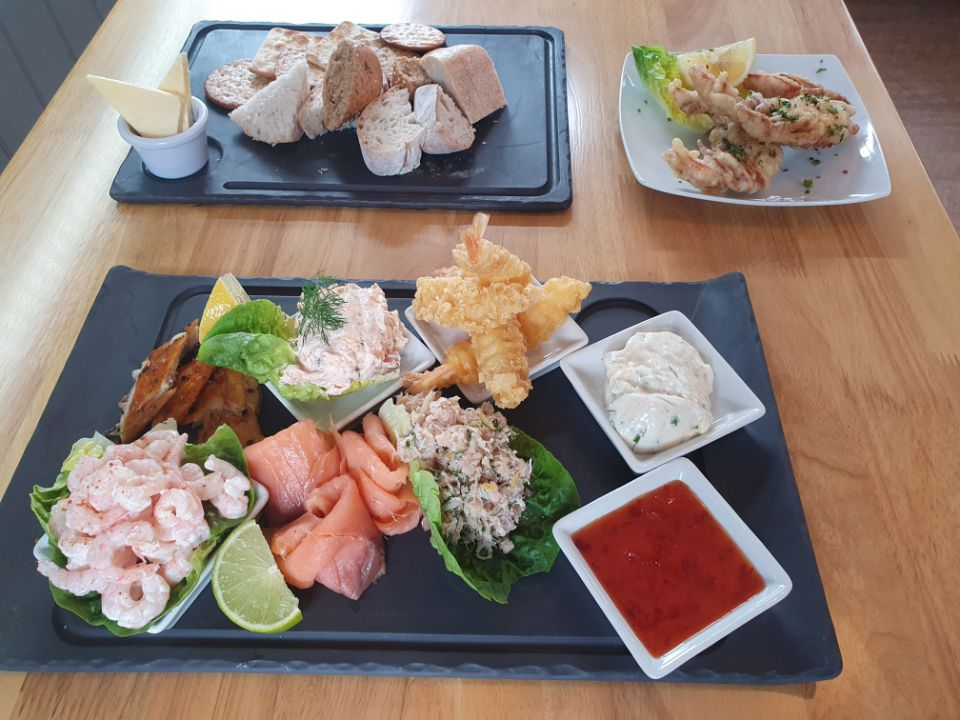 Fish Platter, Bread and Dressed Soft Shell Crab